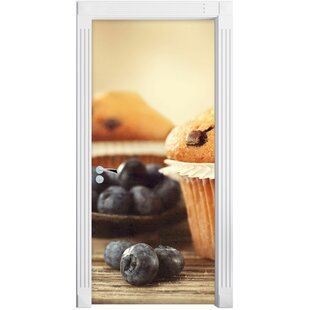 Muffins With Chocolate Sprinkles And Blueberries Door Sticker By East Urban Home