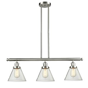 Glass Cone 3-Light Kitchen Island Pendant