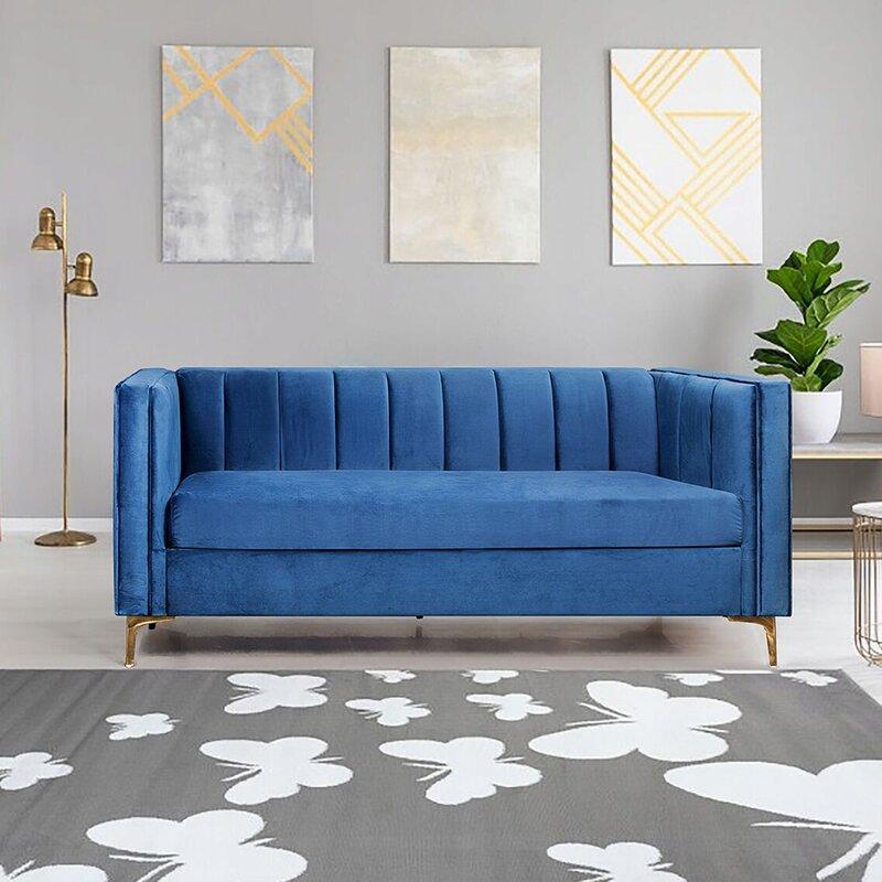 Everly Quinn Nebraska Velvet 71 Square Arm Sofa Reviews Wayfair