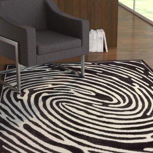 Inexpensive Jenecke Delightful Modern Fingerprint Lines Black/White Area Rug ByLatitude Run