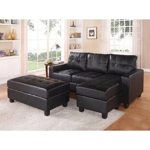 Autenberry Reversible Sectional with Ottoman (Set of 3)