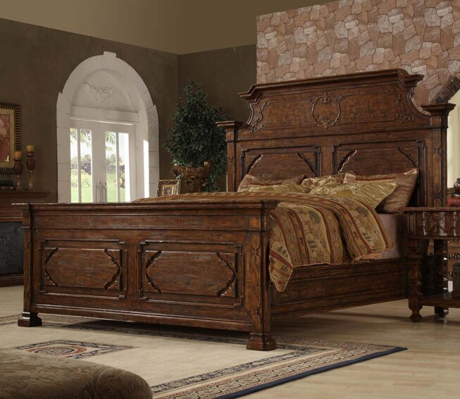 burgundy king panel bed - King Panel Bed