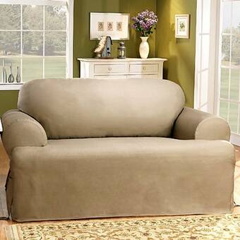 Superb Sure Fit Cotton Duck T Cushion Loveseat Slipcover Reviews Ibusinesslaw Wood Chair Design Ideas Ibusinesslaworg