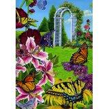 Butterflies In The Garden 28 x 40 inch House Flag
