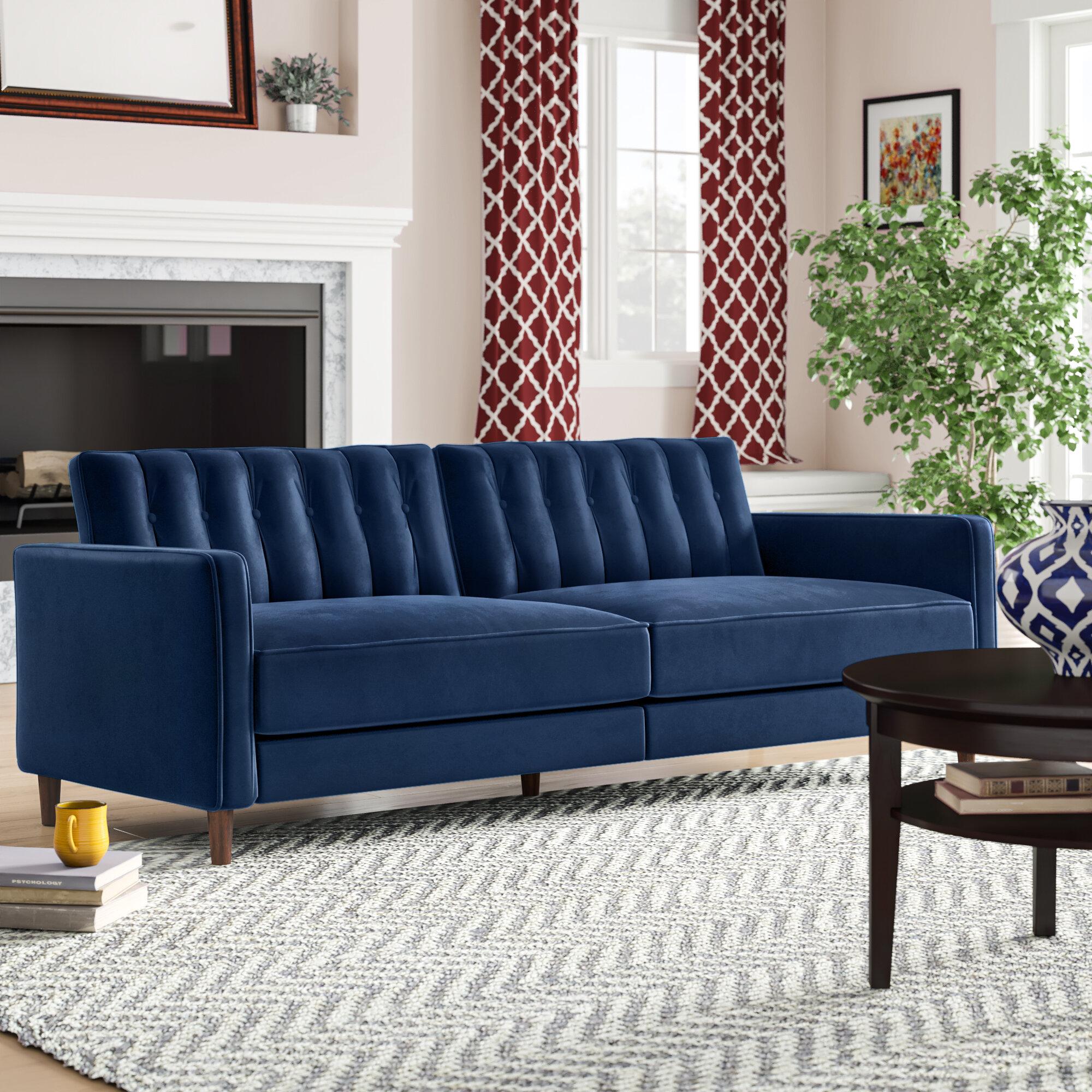 """Cornell Velvet 3"""" Square Arms Sofa Bed"""