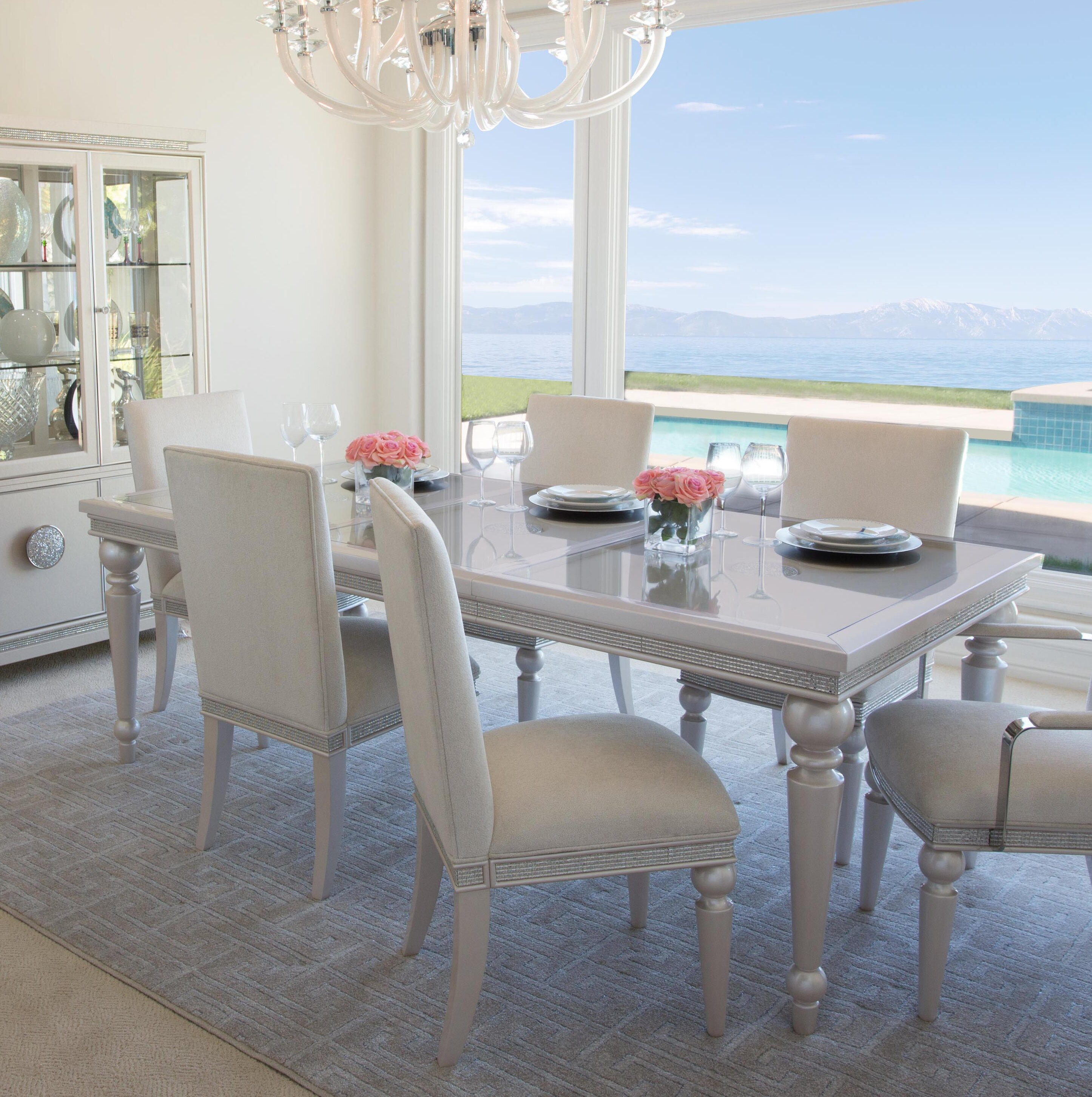 Michael Amini Glimmering Heights Extendable Dining Table Wayfair