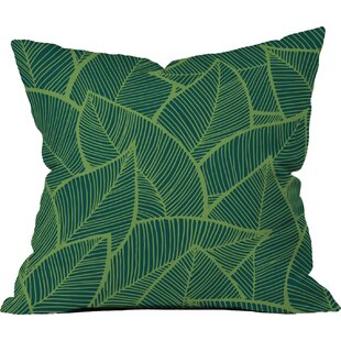 Lime Green Leaves Outdoor Throw Pillow