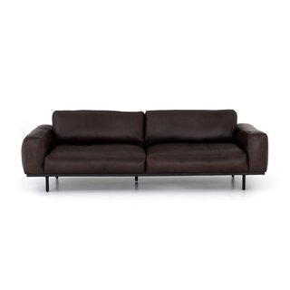 """Steinway Leather Sofa - 97"""" by Williston Forge SKU:CA836247 Price Compare"""