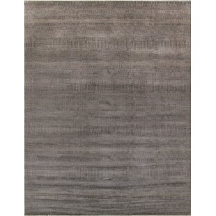Comparison Hand-Knotted Wool and Rayon from Bamboo Silk Black Area Rug By Pasargad