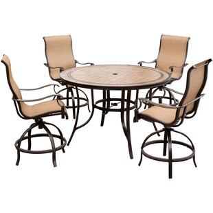 Bucci 5 Pieces High-Dining Set with Umbrella
