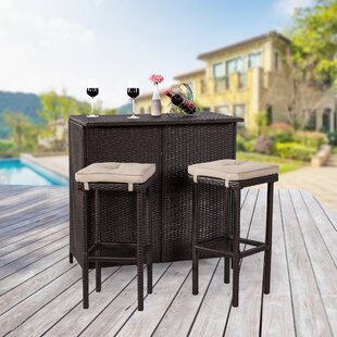 Ebern Designs Audrey Rattan 3 Piece Bar Set