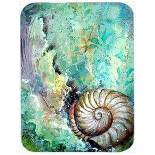 The Treasure of the Surf Shell Glass Cutting Board ByCaroline's Treasures