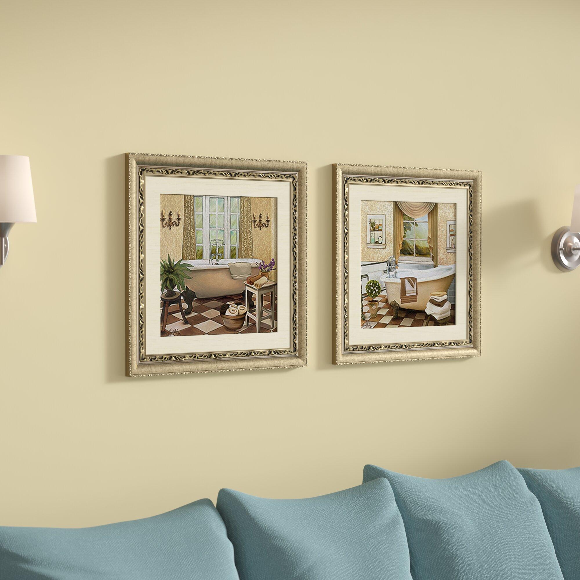 Astoria Grand \'French Bath II\' 2 Piece Framed Acrylic Painting Print ...