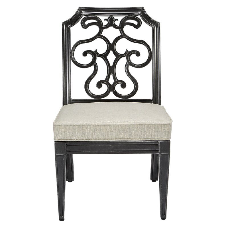 Canora Grey Hargrave Patio Dining Chair with Cushion  Frame Color: Brown
