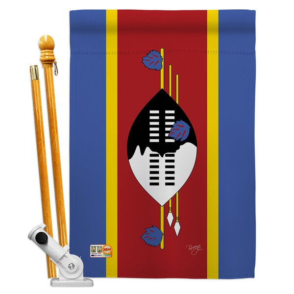 Breeze Decor Swaziland Flags Of The World Nationality Impressions Decorative Vertical 2 Sided Polyester 28 X 40 In Flag Set Wayfair Ca