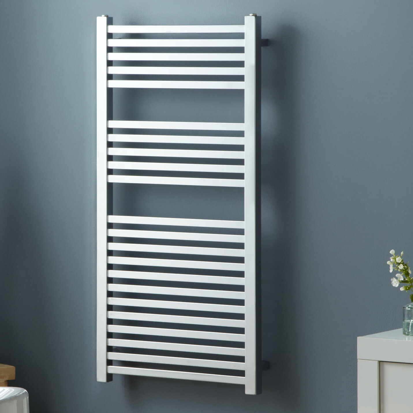 Square Bar Wall Mounted Heated Towel Rail