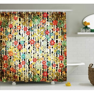 Acosta Ivy Line Like Colored Flowers Leafs and Buds With Striped Background Artwork Single Shower Curtain