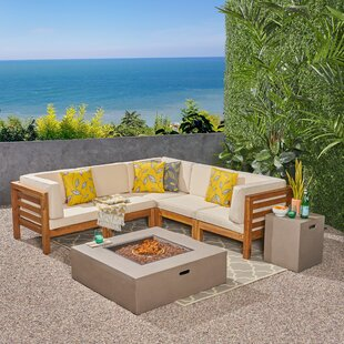 Order Galindo Outdoor 7 Piece Sectional Seating Group with Cushions Best price
