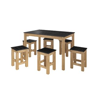 Wiggin 7 Piece Solid Wood Dining Set Millwood Pines