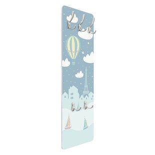 Paris With Stars And Hot Air Balloon Wall Mounted Coat Rack By Symple Stuff