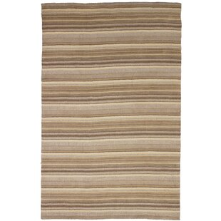 Price comparison One-of-a-Kind Groom Hand-Knotted Wool Cream/Khaki Area Rug By Isabelline