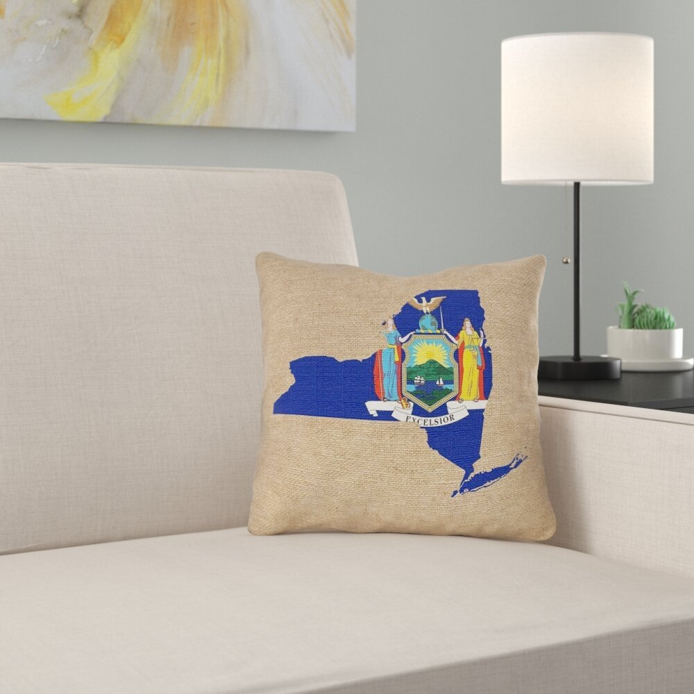 East Urban Home New York Flag Pillow In Spun Polyester Double Sided Print Pillow Cover Wayfair