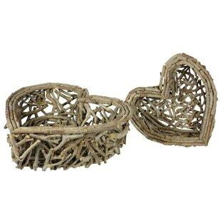 2 Piece Heart Shaped Basket Set by ESSENTIAL DÉCOR & BEYOND, INC