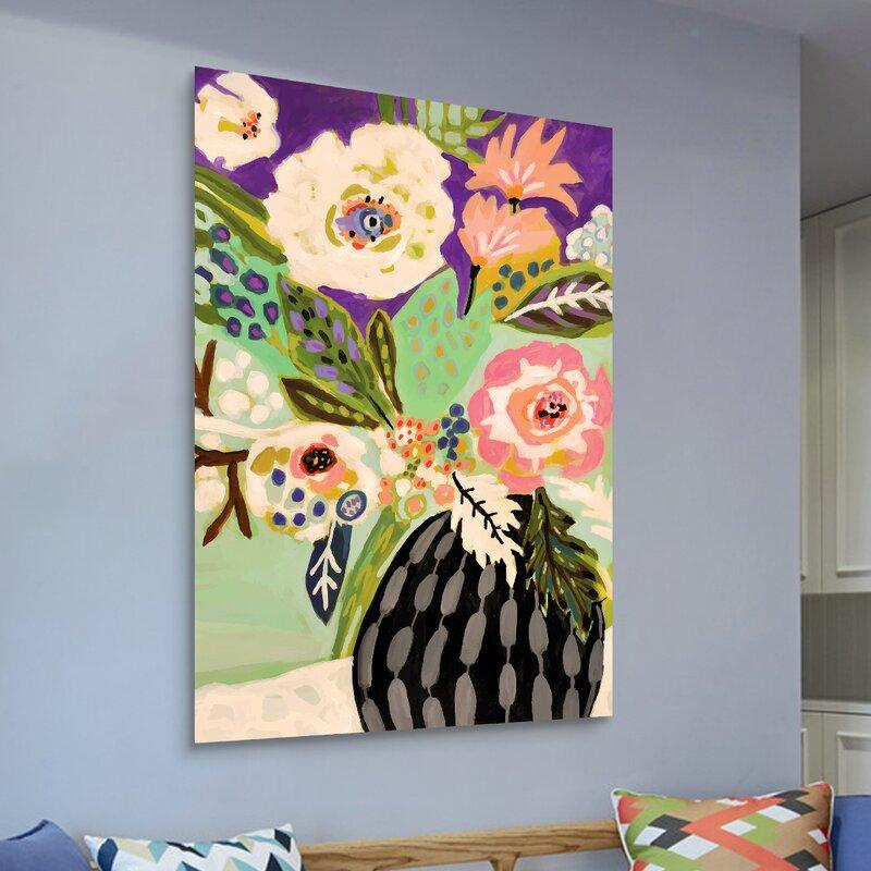 'Fresh Flowers in Vase I' Print on Glass