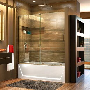 "Mirage-X 56"" W x 60"" H Single Sliding Semi-Frameless Tub Door with ClearMax™ Technology"