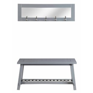 Homestyle Collection Wooden Bench and Mirror