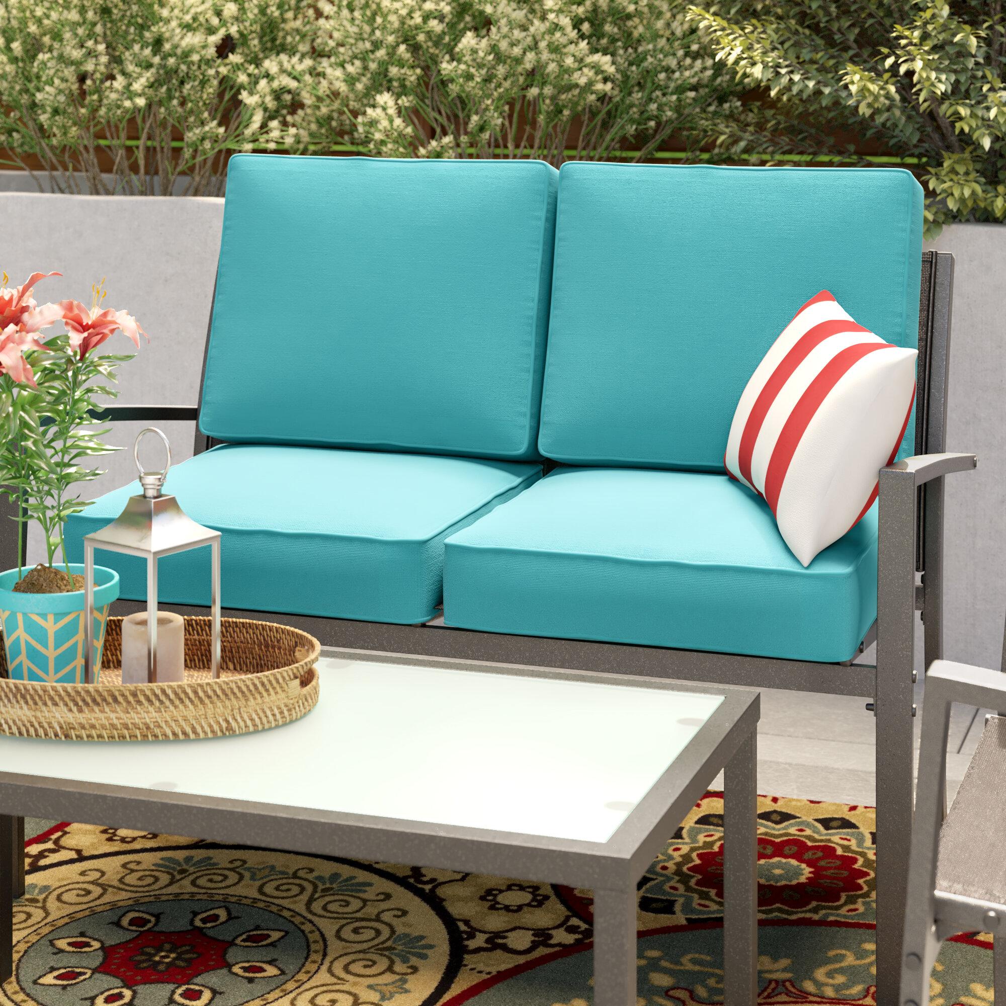 Fine Indoor Outdoor Loveseat Cushion Set Beutiful Home Inspiration Aditmahrainfo