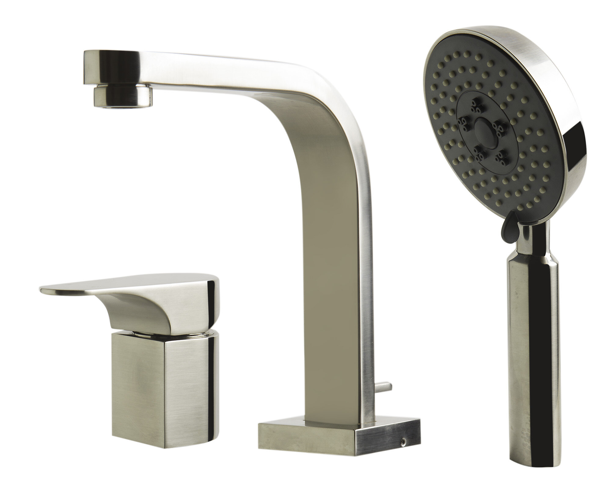 Alfi Brand Single Lever Deck Mount Tub Filler with Round Hand Held ...