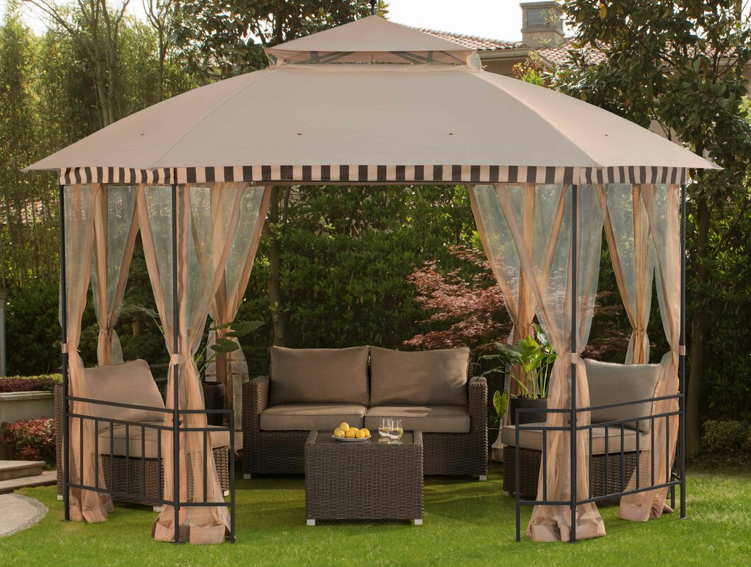 Meijer 10 Ft. W x 12 Ft. D Steel Permanent Gazebo & Sunjoy Meijer 10 Ft. W x 12 Ft. D Steel Permanent Gazebo u0026 Reviews ...