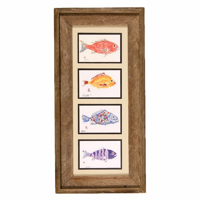 'Fish Collage' by Gyotaku Framed Print of Painting - Wooden fish wall decor