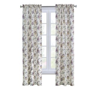 Pettway Floral Room Darkening Thermal Rod Pocket Curtain Panels (Set of 2) by House of Hampton