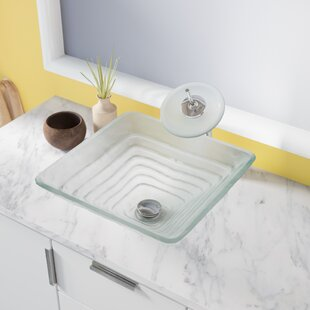 Online Reviews Tiered Glass Square Vessel Bathroom Sink ByMR Direct