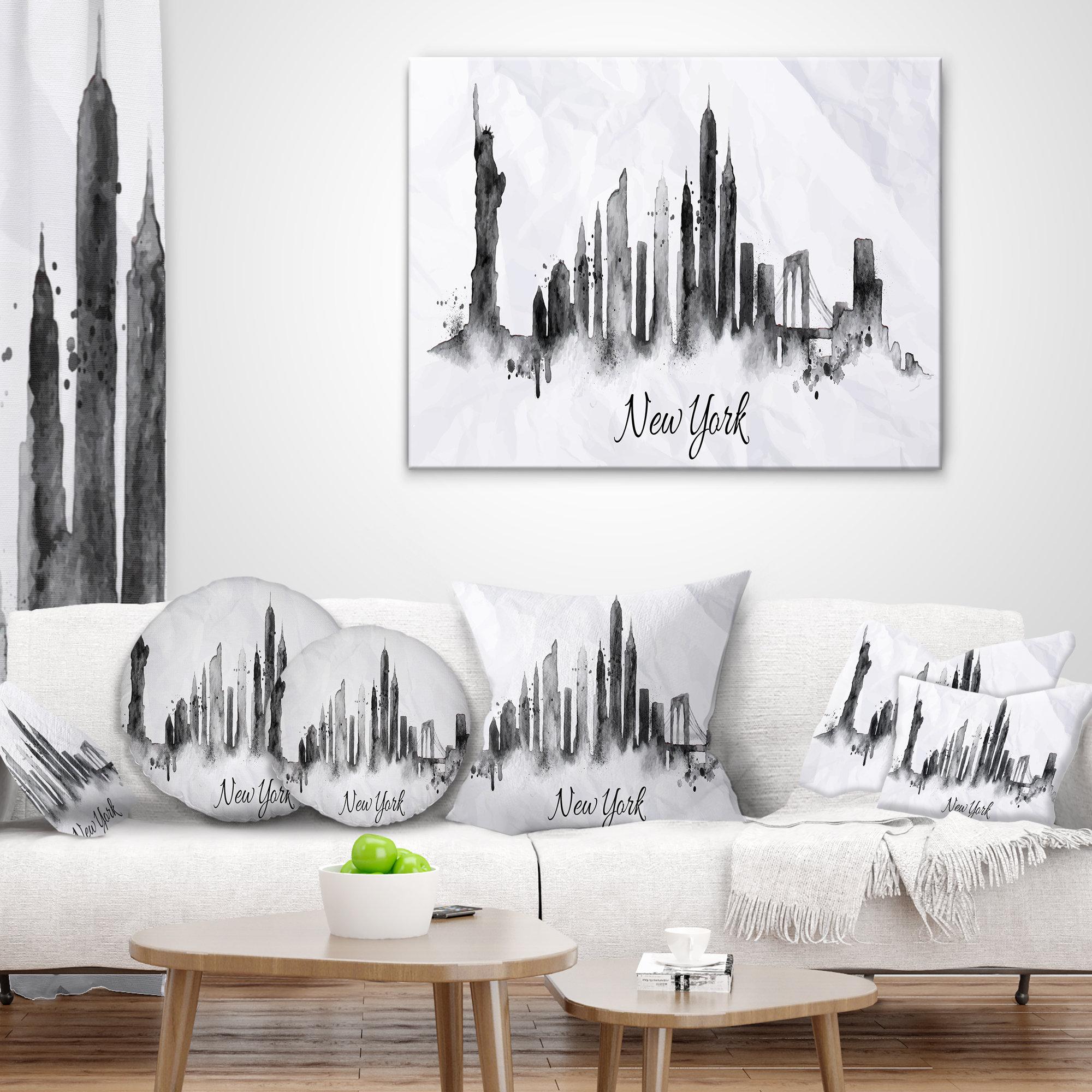 East Urban Home Cityscape Silhouette Ink New York Lumbar Pillow Wayfair Ca