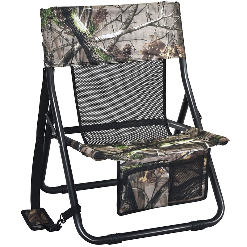 Freeport Park® Folding Hunting Chair Portable Outdoor Camping Woodland Camouflage Hunting Seat