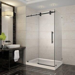 Langham 48 x 77.5 Rectangle Sliding Shower enclosure with Base Included ByAston