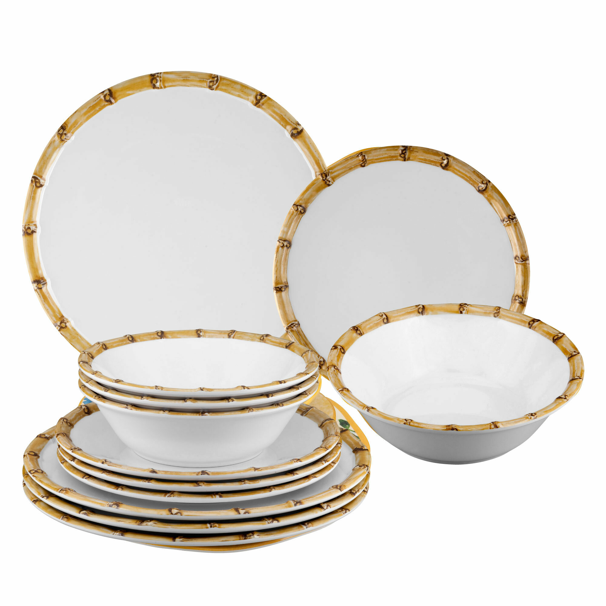 Burford Bamboo 12 Piece Melamine Dinnerware Set Service For 4