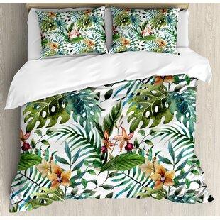 Leaf Vintage Retro 60s Seem Banana Palm Tree Leaves Flowers Hibiscus Duvet Cover Set