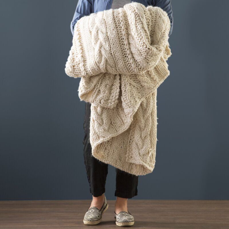 Audrina Textural Hand-Knit Throw