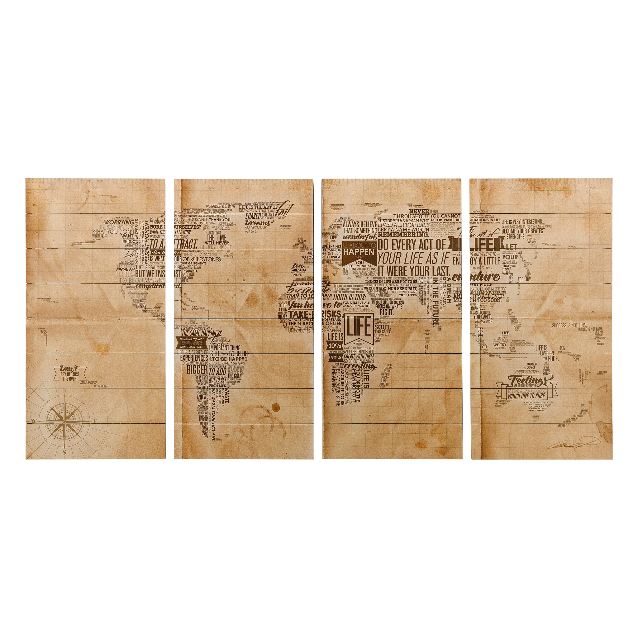 \'World Map\' Graphic Art Print on Wood