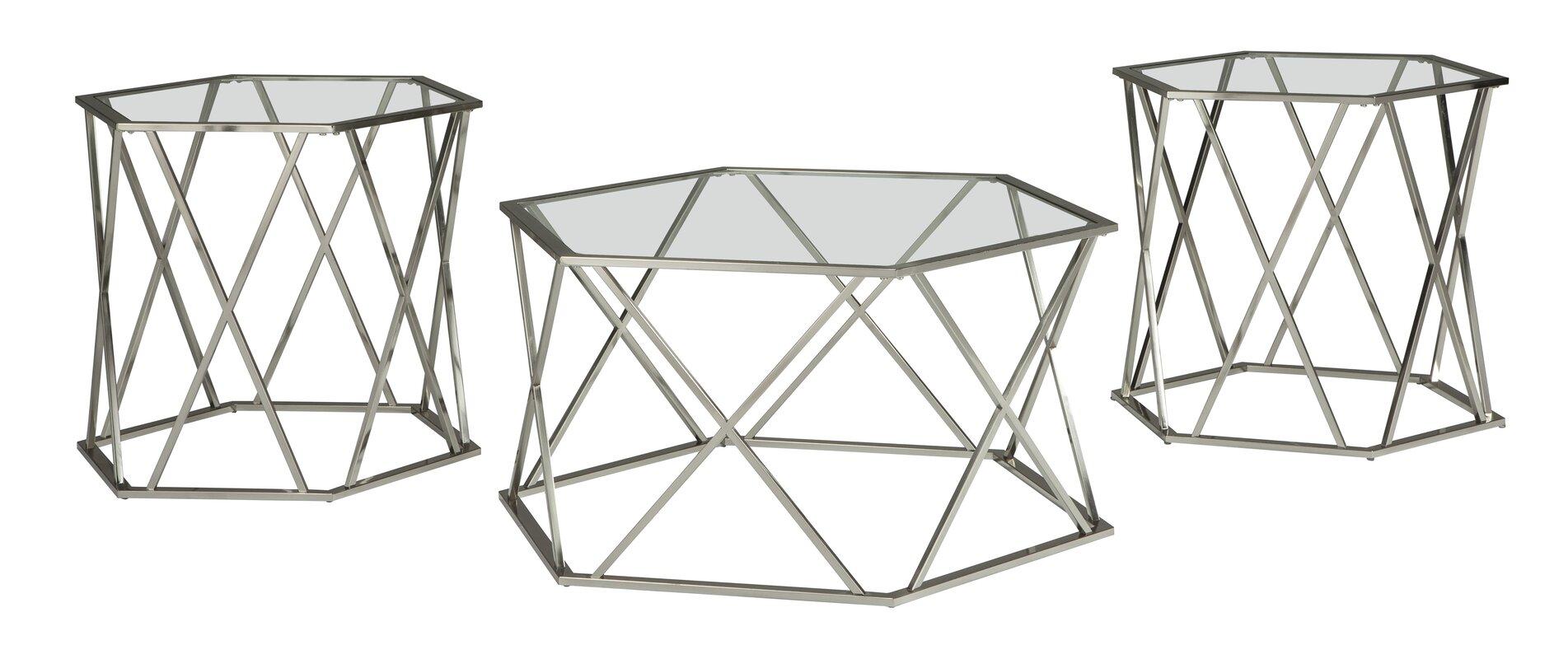 Orren Ellis Howard 3 Piece Coffee Table Set & Reviews | Wayfair