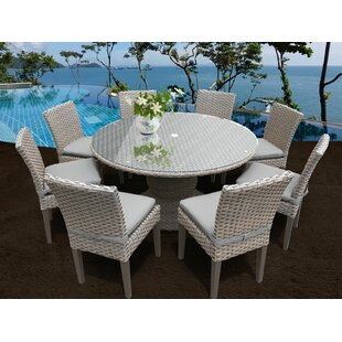 Medrano 9 Piece Outdoor Patio Dining Set with Cushion by Rosecliff Heights