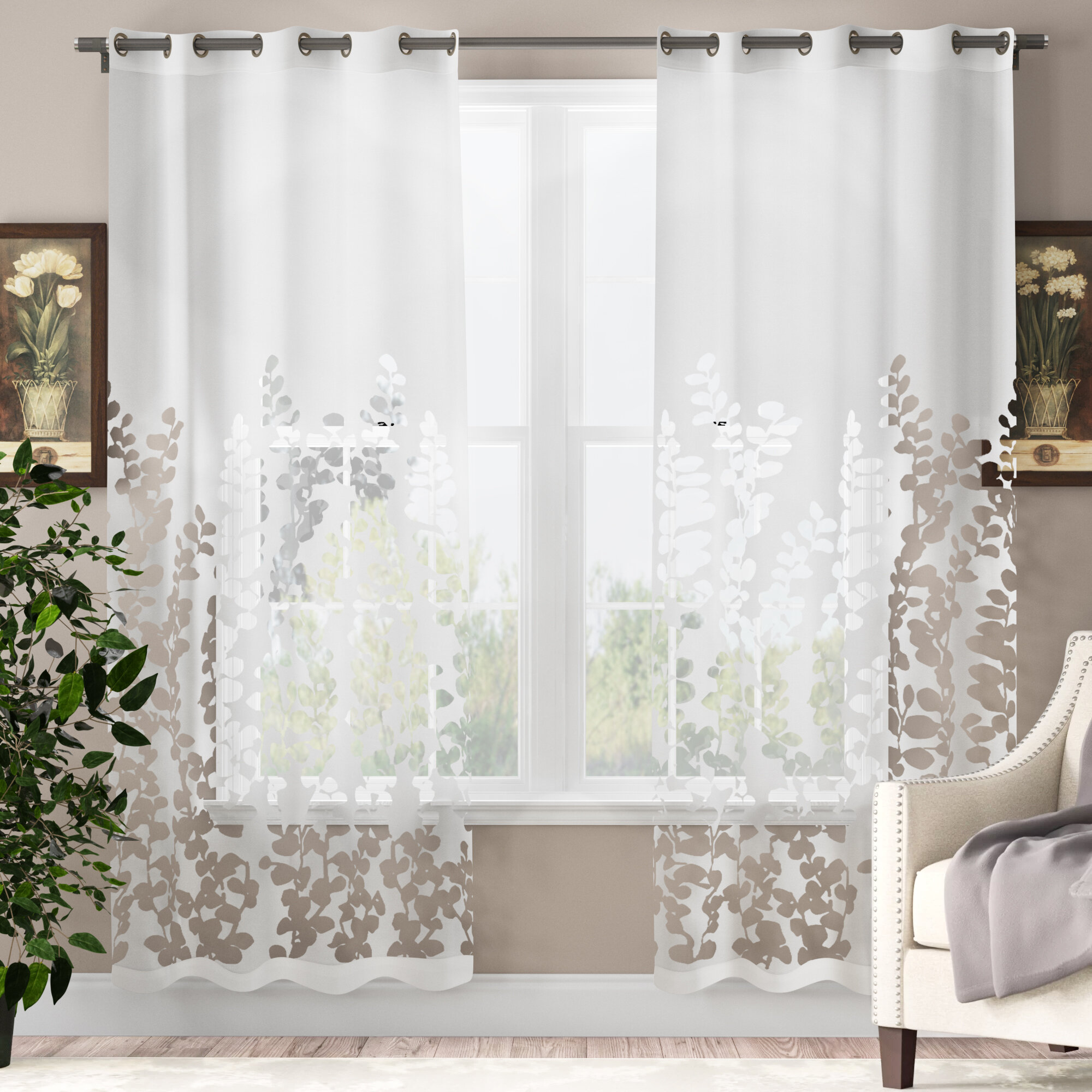 Alcott Hill Ryckman Cotton Blend Semi Sheer Grommet Curtain Panels Reviews Wayfair