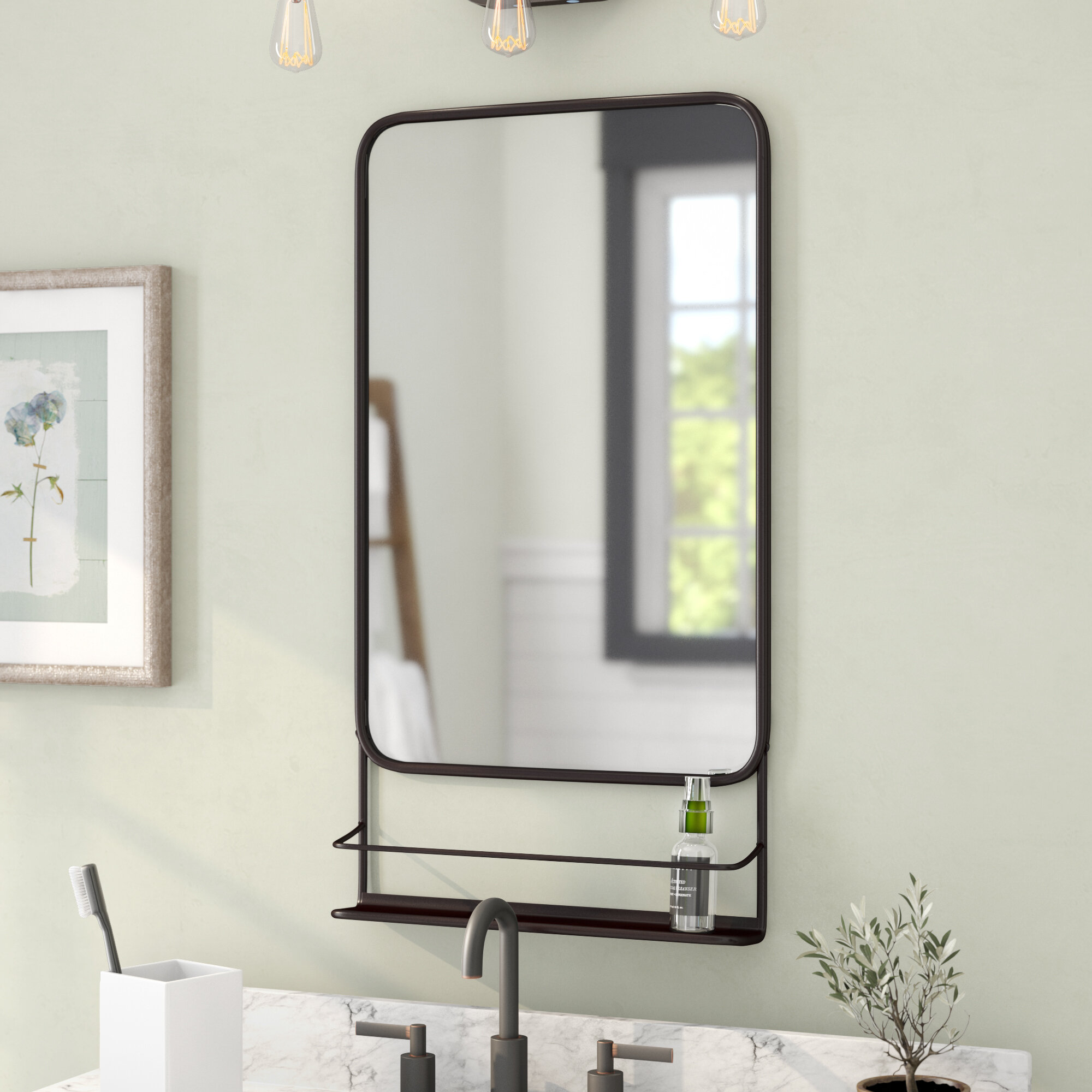Gracie Oaks Amata Metal Wall Mounted Distressed Accent Mirror Reviews Wayfair