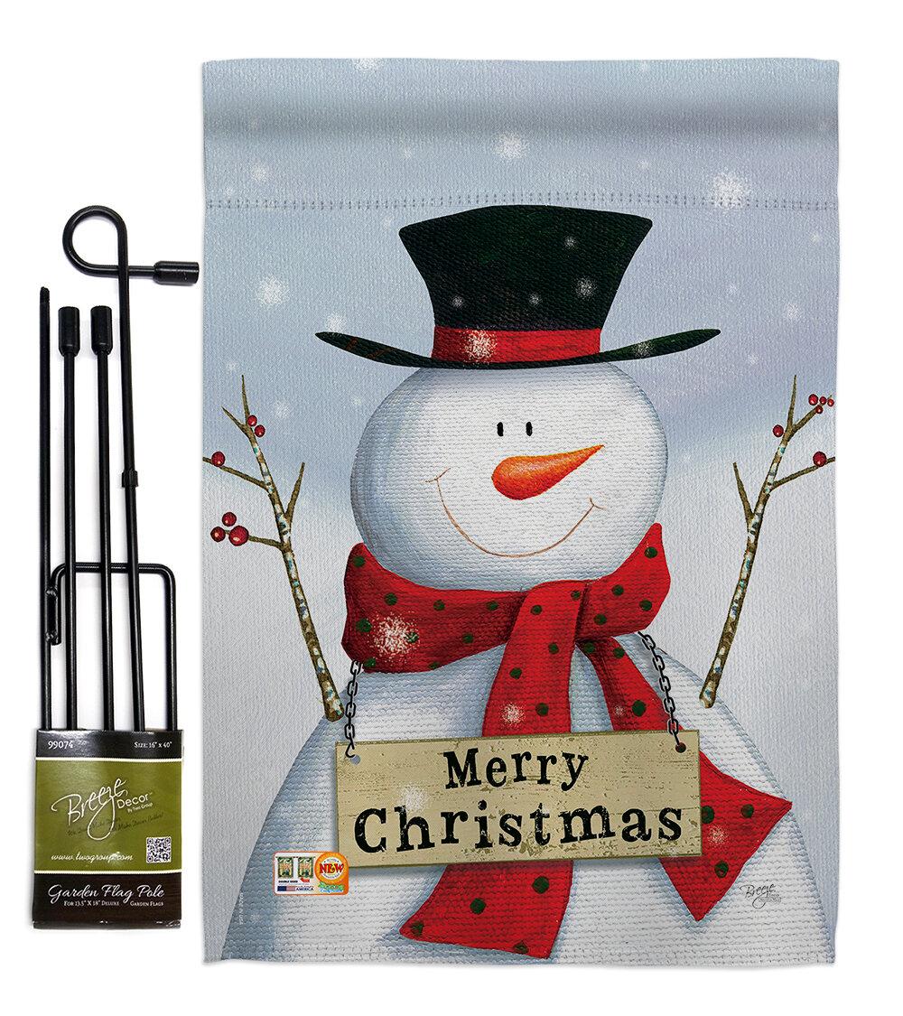 Breeze Decor Joyful Snowman Winter Christmas Impressions 2 Sided Polyester 19 X 13 In Flag Set Wayfair