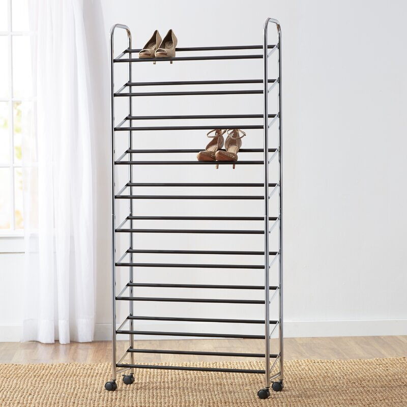 Wayfair Basics™ Wayfair Basics Rolling 10 Tier 50 Pair Shoe Rack ...