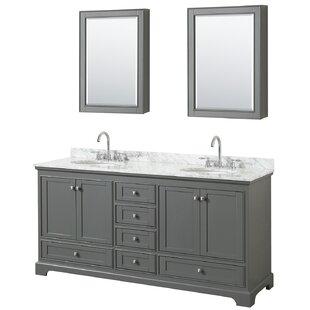 Deborah 72 Double Dark Gray Bathroom Vanity Set with Medicine Cabinet By Wyndham Collection